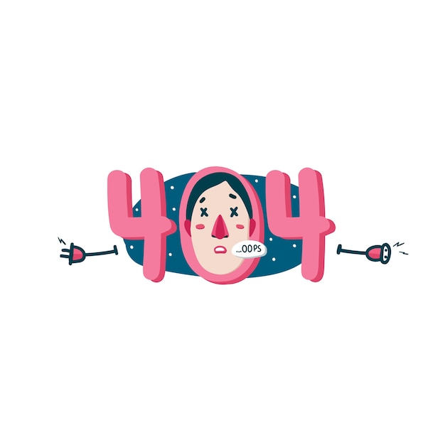 404 error web page cartoon illustration Free Vector