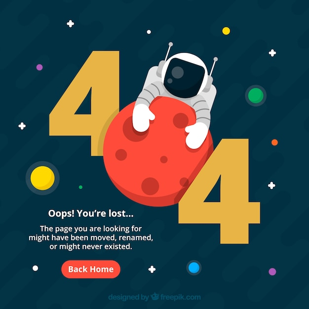 404 error web template with astronaut in flat style Free Vector