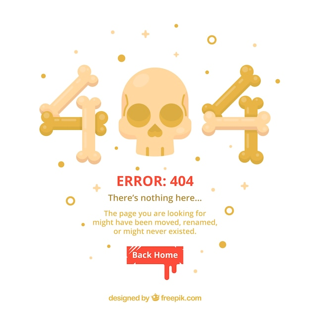 404 error web template with bones and skull in flat style Free Vector