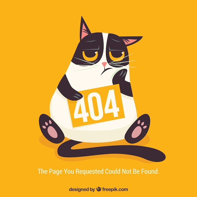 404 error web template with bored cat Free Vector