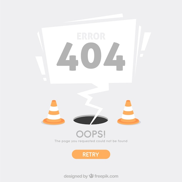 404 error web template with cones in flat style Free Vector