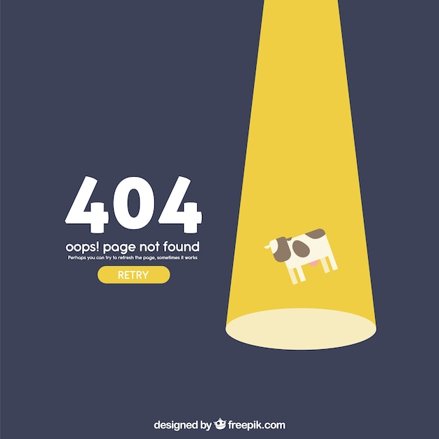 404 error web template with cow flying in flat style Free Vector