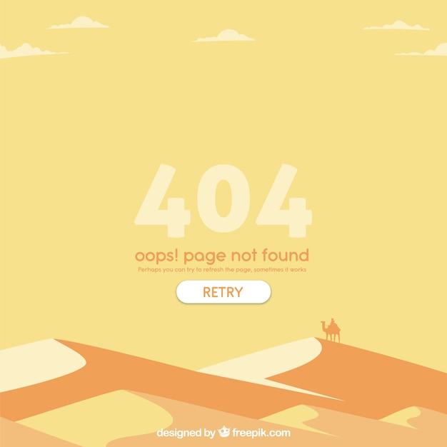 404 error web template with desert in flat\ style