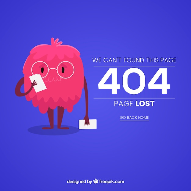 404 error web template with funny monster Free Vector