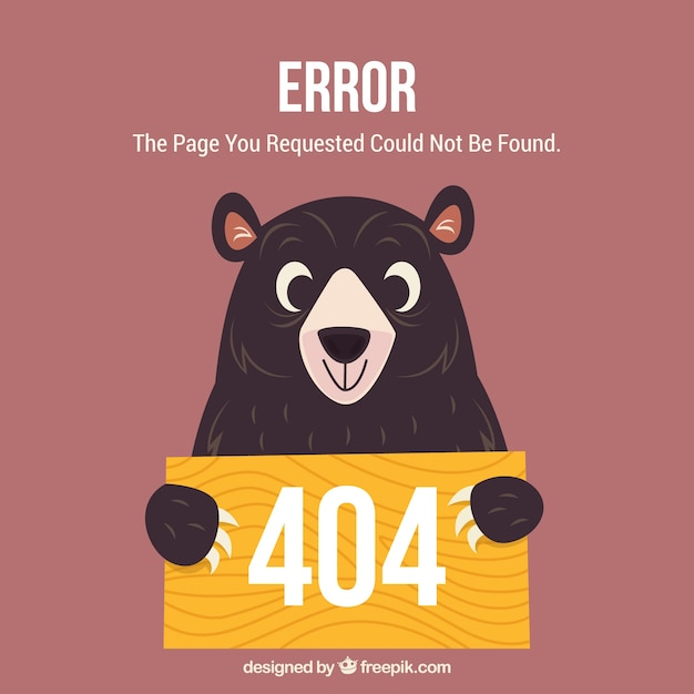 404 error web template with happy bear Free Vector