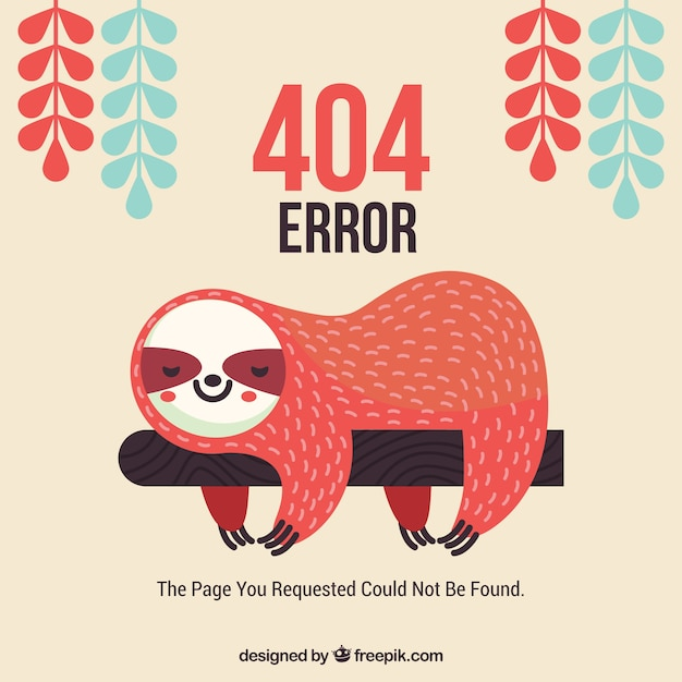 404 error web template with lazy asleep Free Vector