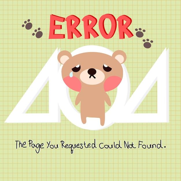 404 error web template with little bear background Premium Vector