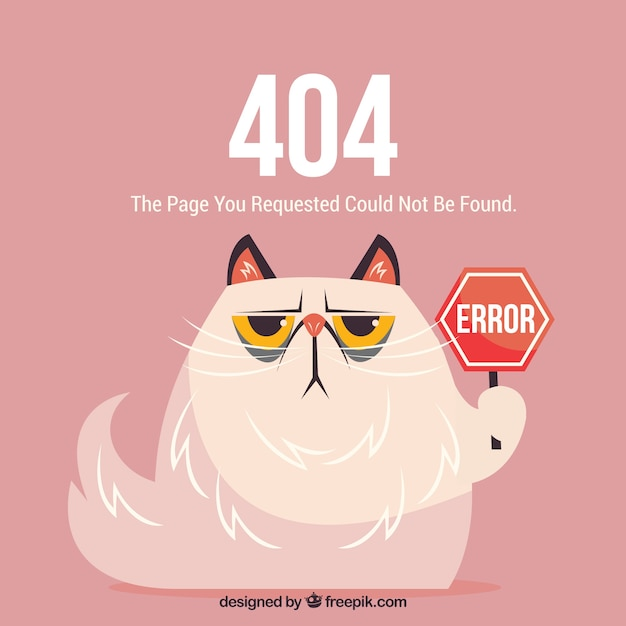 404 error web template with mad cat Free Vector