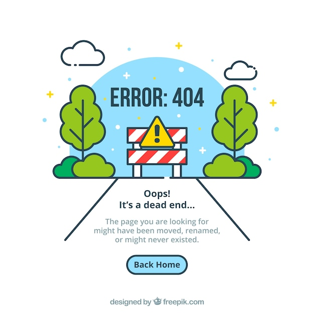 404 error web template with road in flat style Free Vector