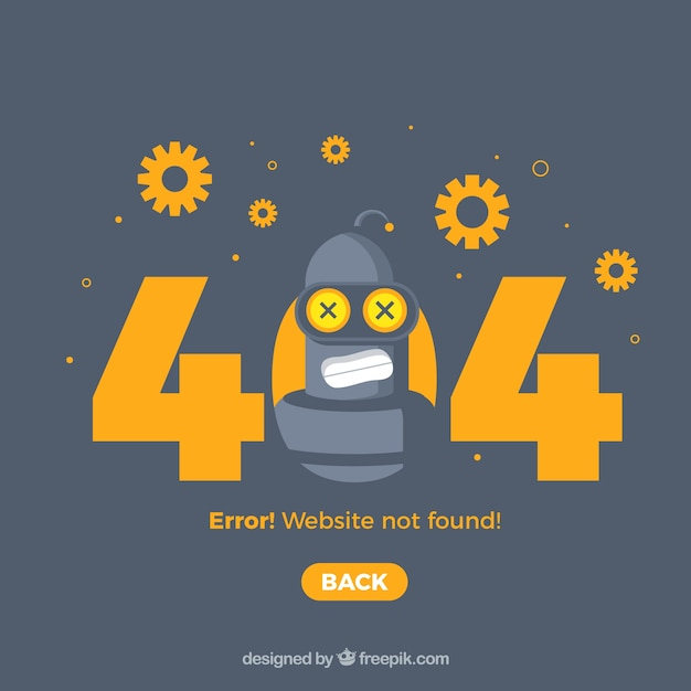 404 error web template with robot and gears Free Vector