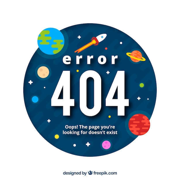 404 error web template with space and planets in flat style Free Vector