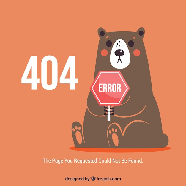404 error web template with surprised bear Free Vector