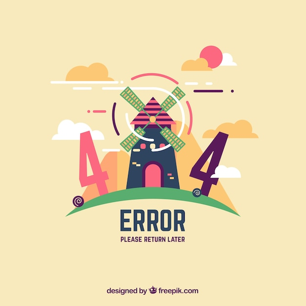 404 error web template with windmill in flat style vector free