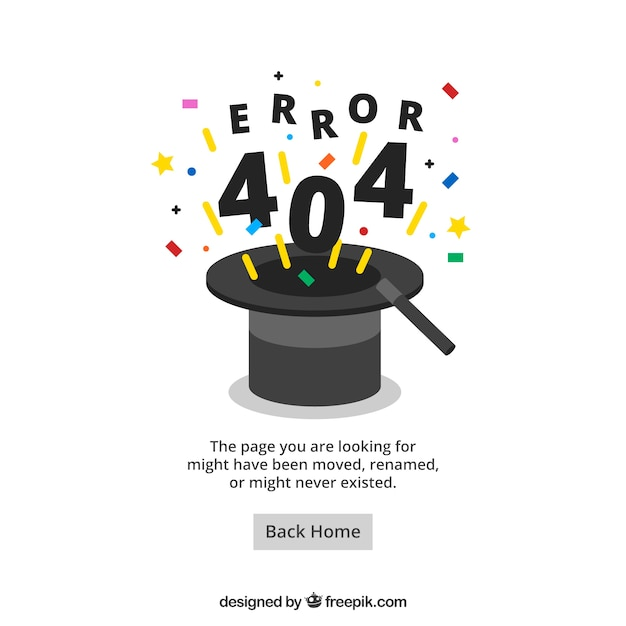 404 error web template with wizard hat in flat style vector free