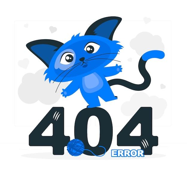 404 error with a cute animal concept illustration Free Vector