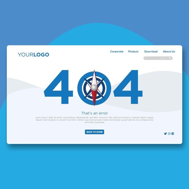 404 landing page flat website design Premium Vector