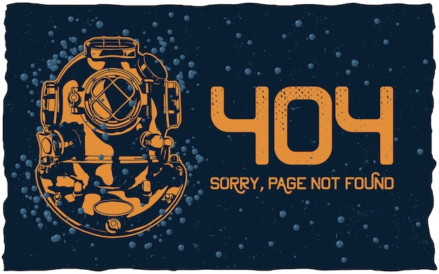 404 page not found concept with diver helmet and bubbles on dark Free Vector