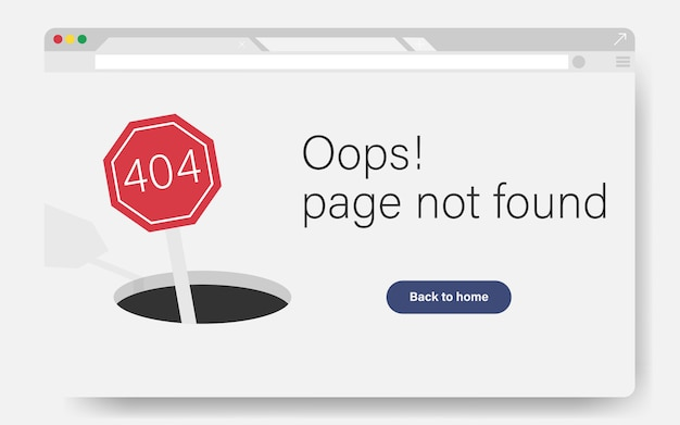 404 site page is not found concept. error failure landing page for website error/website is under construction. hold on road with sign of 404 error. Premium Vector
