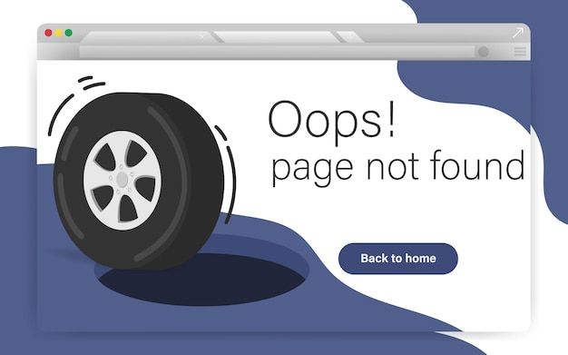 404 site page is not found concept. error failure landing page for website error/website is under construction. hold on road with wheel while getting into it. Premium Vector