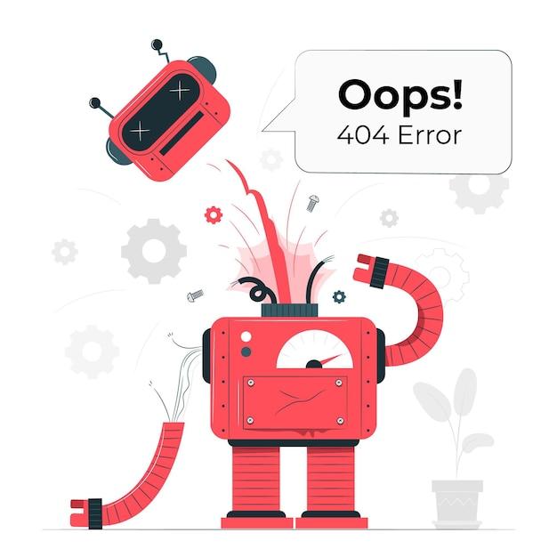 おっとっと!壊れたロボットの概念図の404エラー 無料ベクター