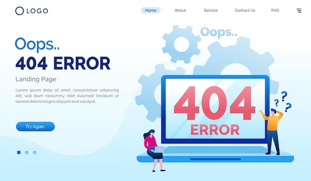 Упс 404 ошибка плоской страницы сайта Premium векторы