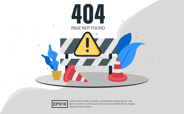 404 ошибка веб-шаблона целевой страницы с конусами. Premium векторы