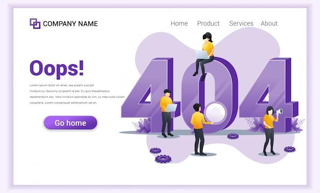 Концепция ошибки 404. люди, работающие на ноутбуках, ищут и пытаются исправить ошибки Premium векторы