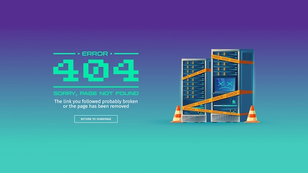 申し訳ありません、ページが見つかりません、404エラーの概念図。ウェブサイトはメンテナンス中です 無料ベクター