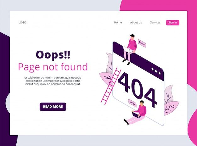 404ページの等尺性ランディングページが見つかりません Premiumベクター
