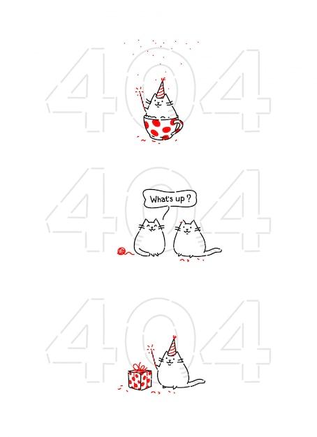 Мультяшный забавный котик на странице 404 Premium векторы