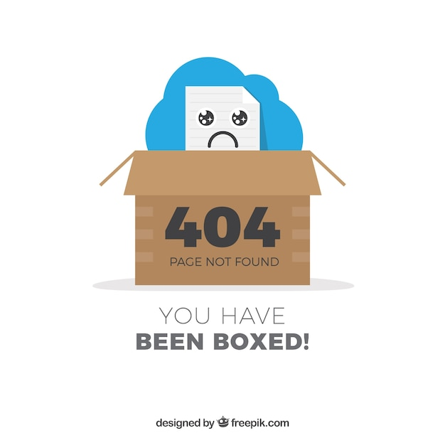404 дизайн ошибок с коробкой Бесплатные векторы