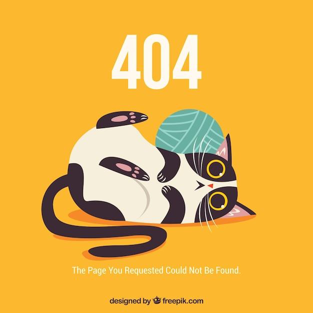 404 веб-шаблон ошибки со смешной кошкой Бесплатные векторы