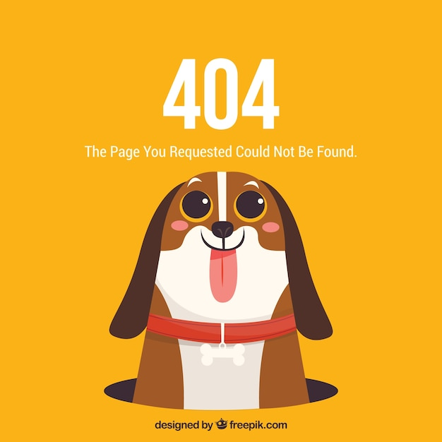 かわいい犬と404エラーウェブテンプレート 無料ベクター