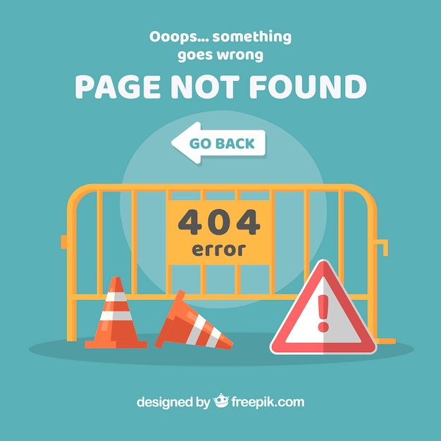 404エラーウェブテンプレートと交通標識 無料ベクター