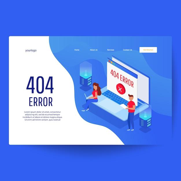 Веб-шаблон целевой страницы. ошибка страницы 404 на веб-сайте и на серверах Premium векторы