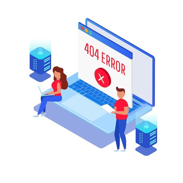 Шаблон для веб 404 изометрической страницы. не работает ошибка, хост не найден Premium векторы