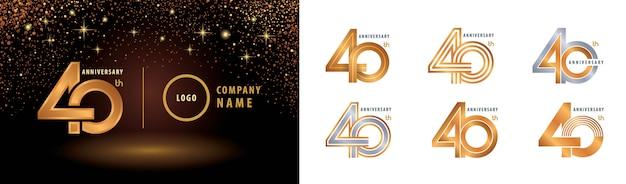 Набор шаблонов логотипа 40th anniversary Premium векторы