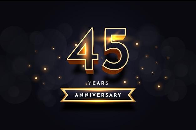 Дизайн шаблона празднования годовщины 45 лет Premium векторы