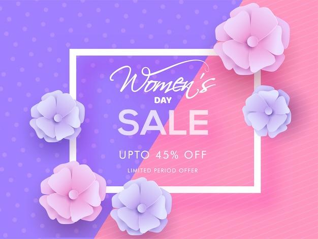 45%割引での女性の日セールポスターデザインと紫とピンクの抽象的な背景に飾られた花。 Premiumベクター
