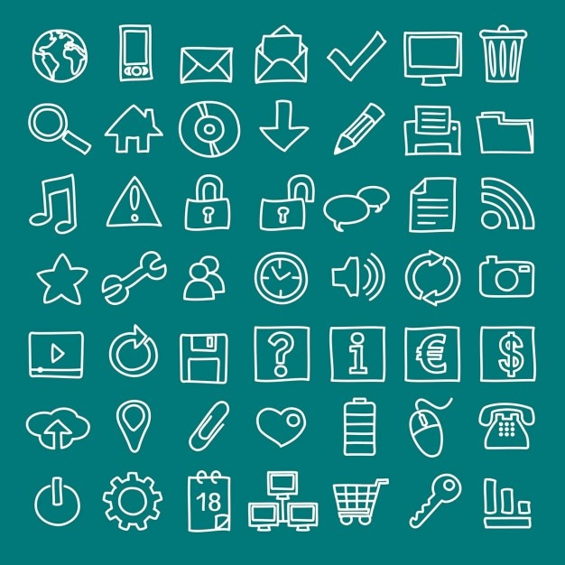 49 handdrawn web icons Free Vector