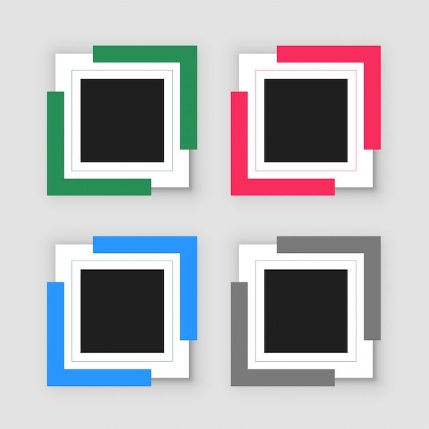 4つの空のインフォグラフィックフレームセット 無料ベクター