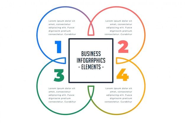 4つのステップビジネスインフォグラフィックテンプレート 無料ベクター