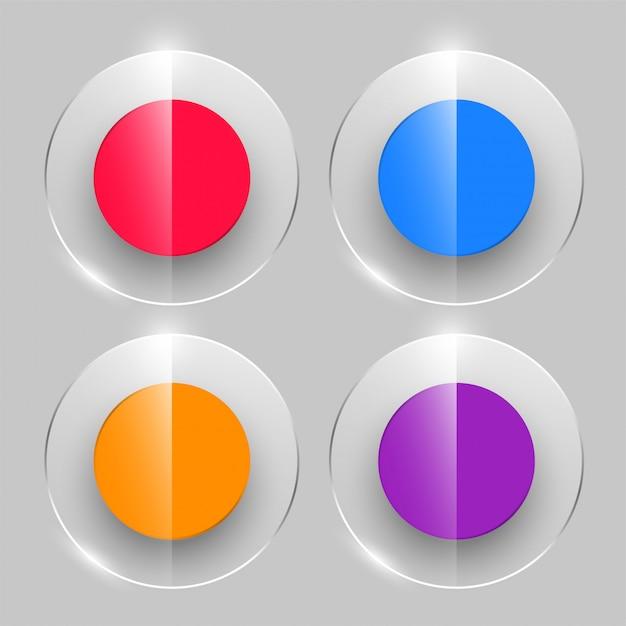光沢のあるスタイルのガラスボタン4色 無料ベクター
