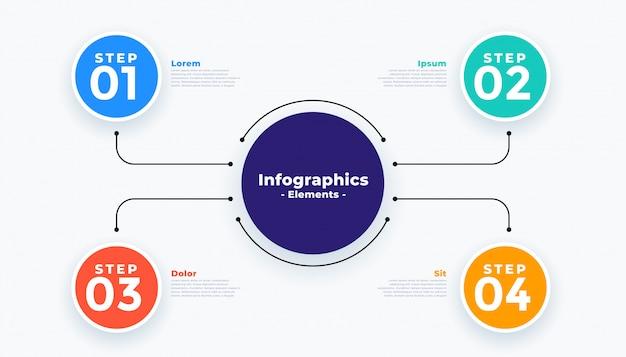 4つのステップのモダンなビジネスインフォグラフィック 無料ベクター