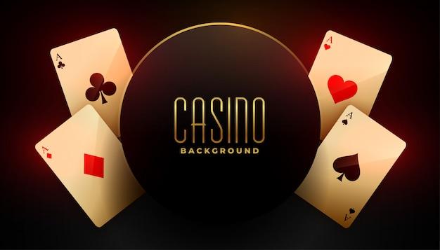 4つのエーストランプとカジノの背景 無料ベクター