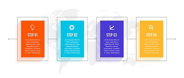 4つのステップのタイムラインビジネスインフォグラフィックテンプレートデザイン 無料ベクター