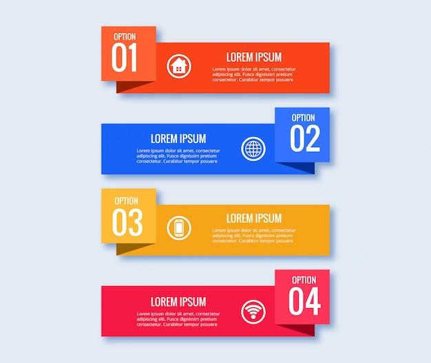 4つのステップでインフォグラフィックデザインテンプレート創造的な概念 無料ベクター