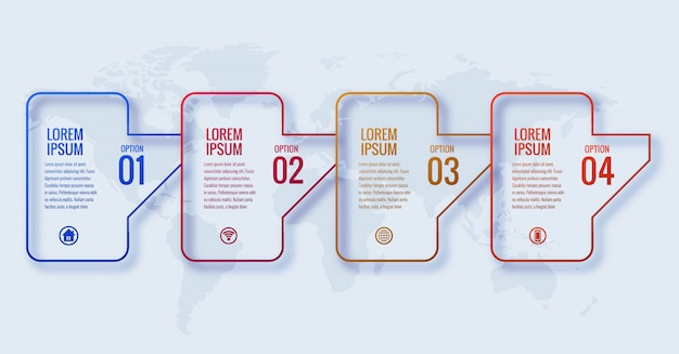 4つのステップのバナーデザインとモダンなビジネスインフォグラフィックコンセプト 無料ベクター
