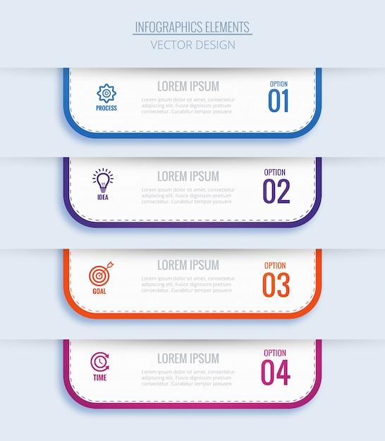 4つのステップでモダンなビジネスインフォグラフィックコンセプト 無料ベクター