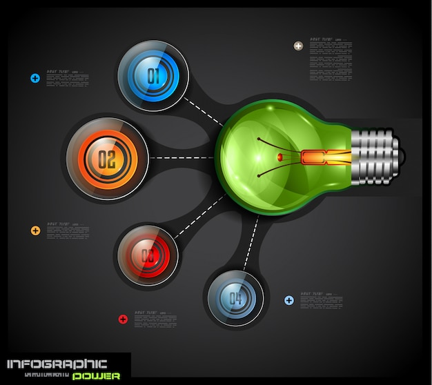 電球に接続された4つの選択肢を持つインフォグラフィックテンプレート Premiumベクター